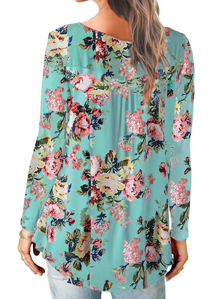 Women Long Sleeve V-neck  Floral Printed Blouse Shirts