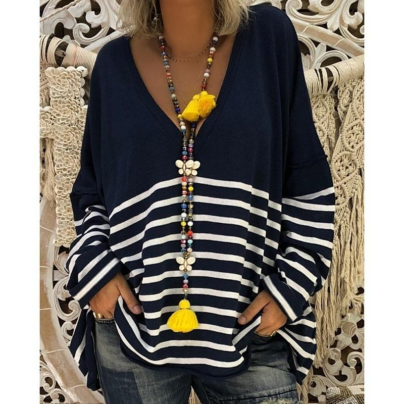 Woemn Loose Round Neck Print Stitching Long Sleeve Striped Tops Sweatshirt