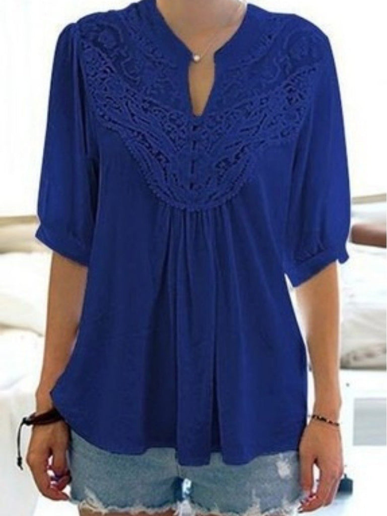 Women's Fashion Solid Color Lace Half Sleeve Shirt