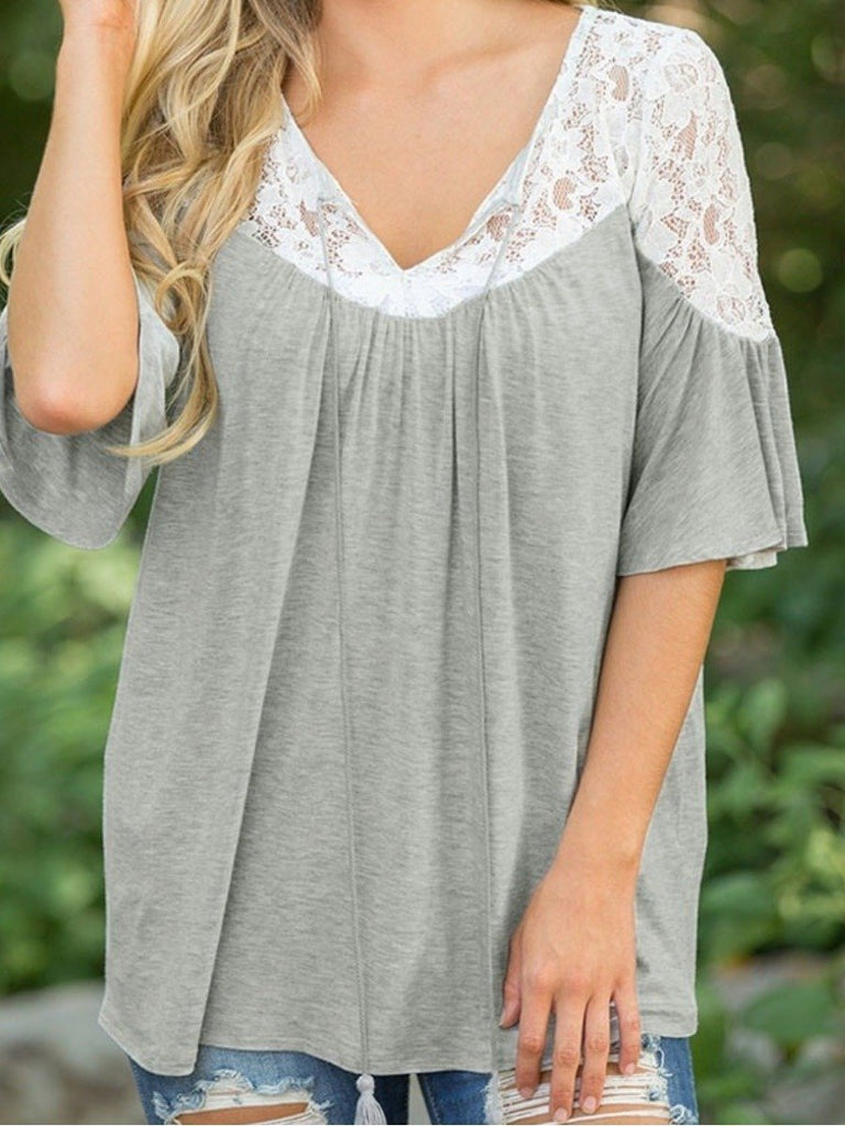 Women's Fashion Solid Color Lace Half Sleeve Plus Size Loose Shirt