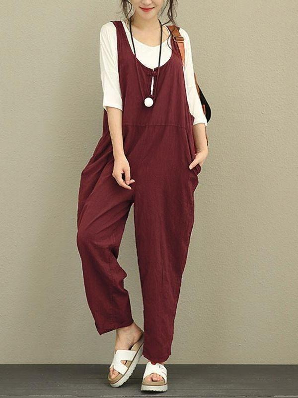 Women Sleeveless Loose Jumpsuit Strappy Dungaree Bib Pants Long Overalls