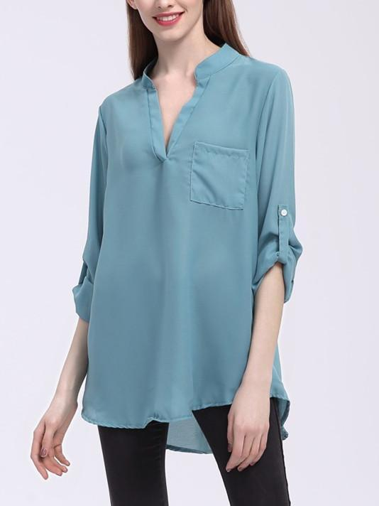 Women Casual 3/4 Sleeves Pocket Deep V Neck Shirt Tops Sexy Plus Size Summer Loose Top Long T-Shirt Chiffon Blouse 9 Color S-5XL