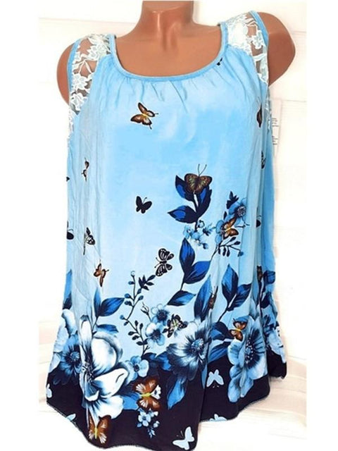 Round Neck Printed Sleeveless T-shirt