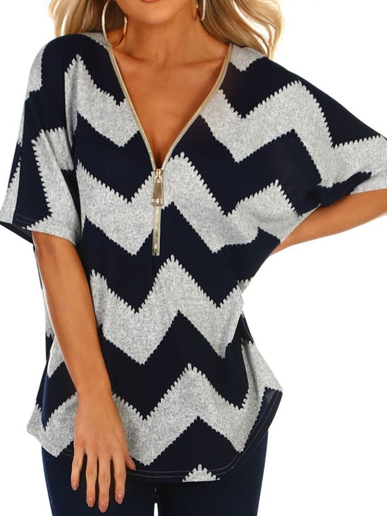 Women V-Neck Zipper Geometric Retro Short-Sleeved Bat Sleeve Tops