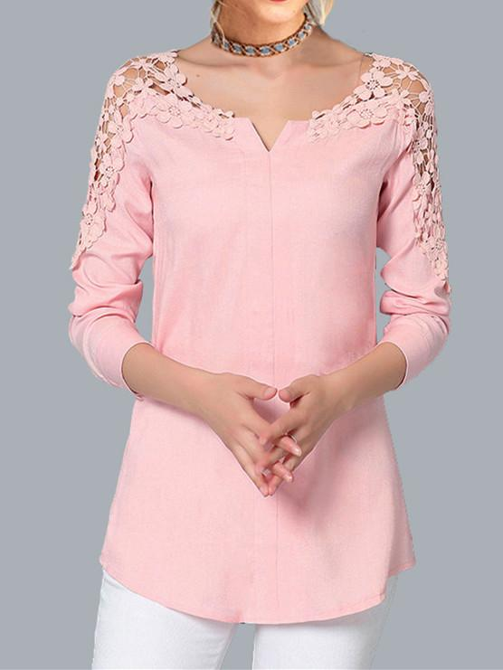 V-neck Lace Strapless Long-Sleeved Shirt Chiffon Tops