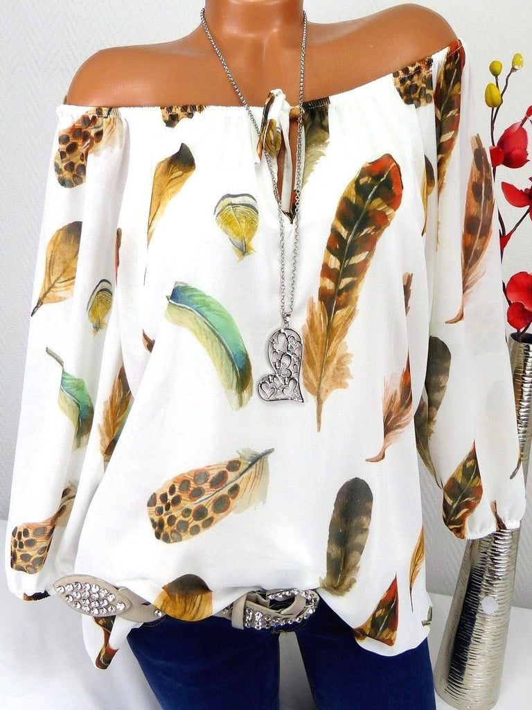 5 Color Women Fashion One-Piece Loose Sexy Feather Print T-Shirt XS-5XL