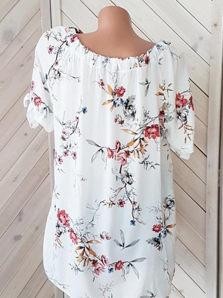 New Women Fashion Floral Print 3/4 Sleeve Offf Shoulder Round Neck Sexy Tunic Top