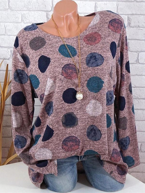 Long Sleeve Polka Dot Round Neck Loose Plus Size T-Shirt S-5XL