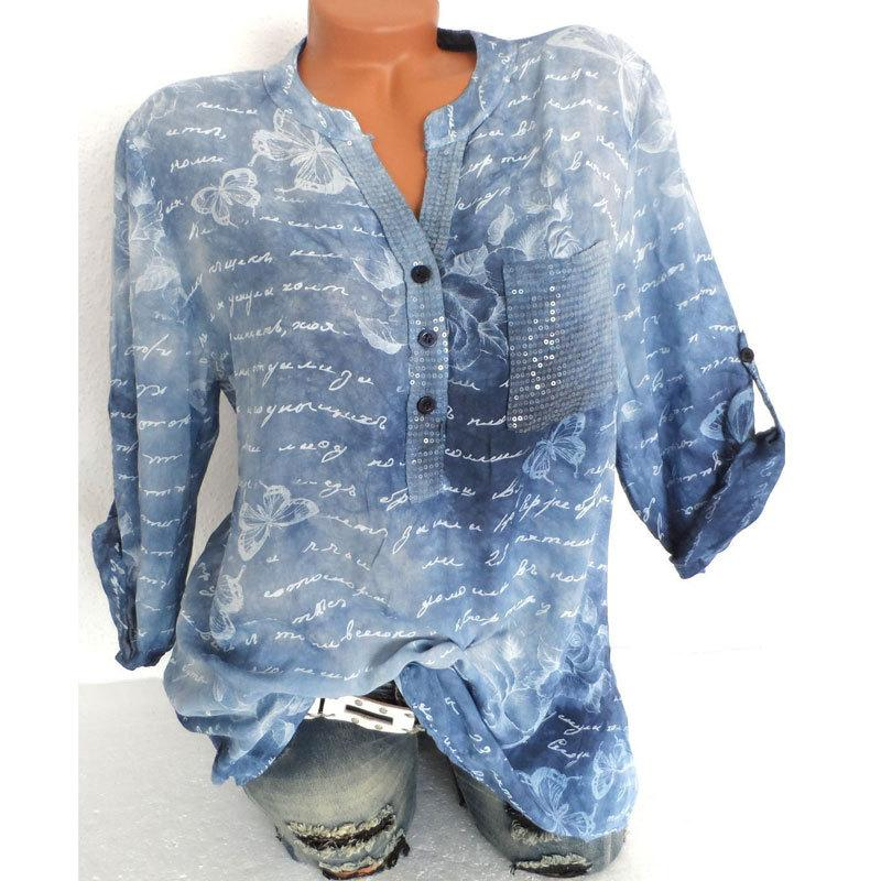 Women Butterfly Print Tops Round Neck Blouse