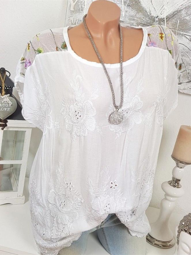 Women Plus Size Loose Mesh Embroidered Tops
