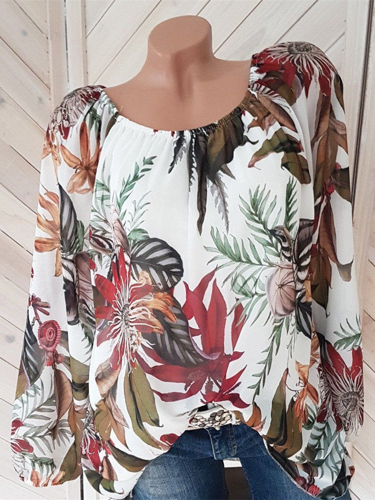 Women Printed Lantern Sleeve Long Sleeve Loose Tops Blouse