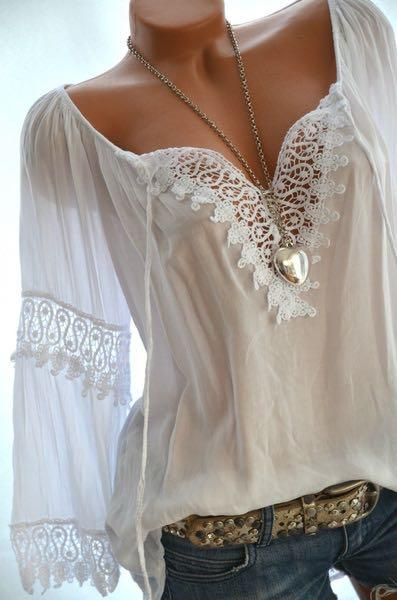 Women Linen Lace Floral Long-Sleeved Tops Blouse