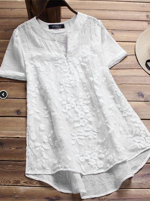 Women Lace Short-Sleeved Embroidered Blouse Tops