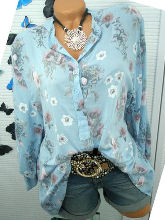 Women Flower Print Long Sleeve Tops Blouse