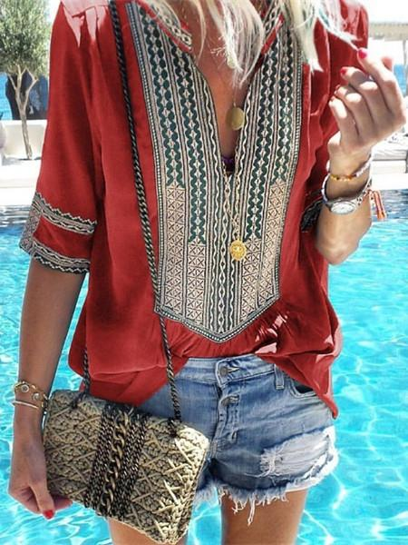 Women V-neck Linen Holiday Casual Tops