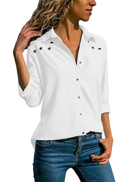 Women Button Solid Color Tops
