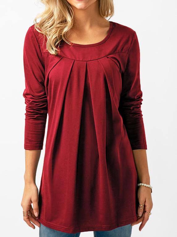 Pleated Long Sleeved Women Tops