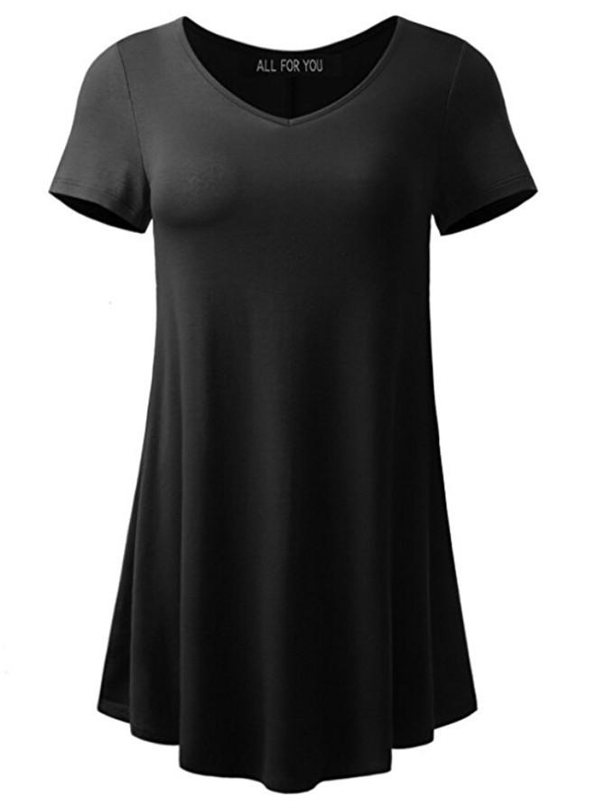 Women Plus Size V-neck Loose Short-Sleeved T-shirt Tops