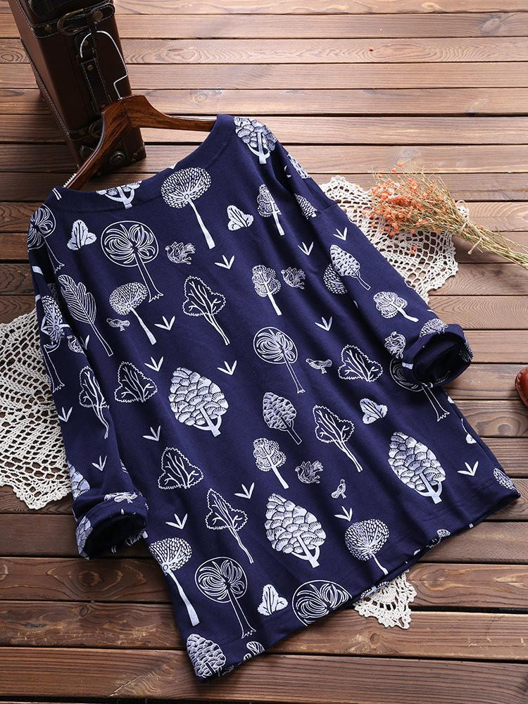 Women Long Sleeve Printed Round Neck Pocket Sweater T-shirt Tops