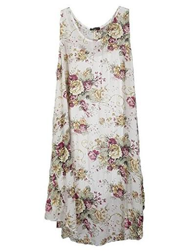 Womens Plus Size Italian Lagenlook Floral Tunic Dress