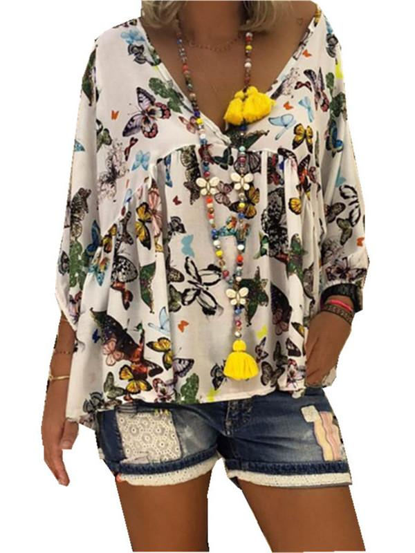 Women Loose Printed Floral V Neck Blouse Tops