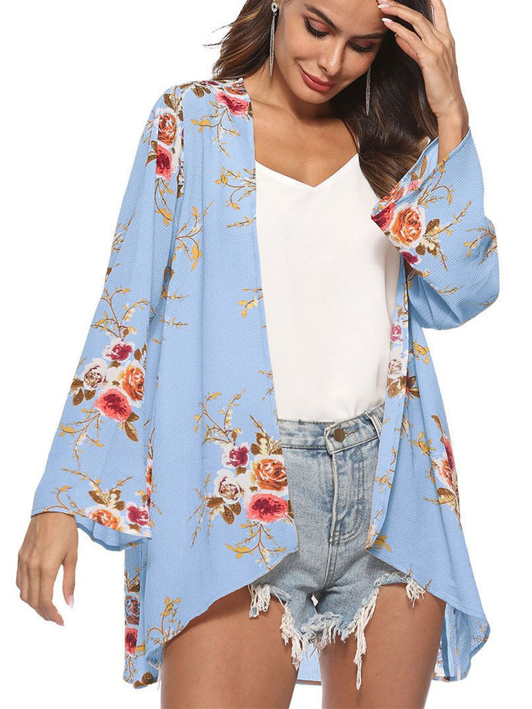 Irregular Print Floral Women Blouse T-shirt