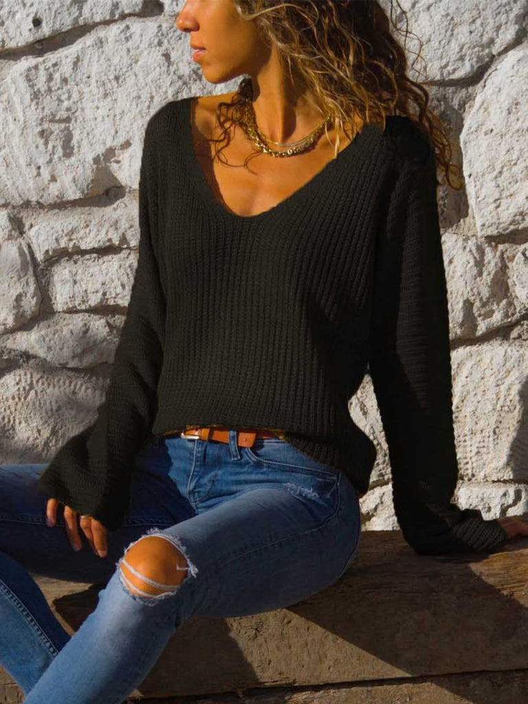 Sexy V-neck Loose Long Sleeve Knit Sweater Top