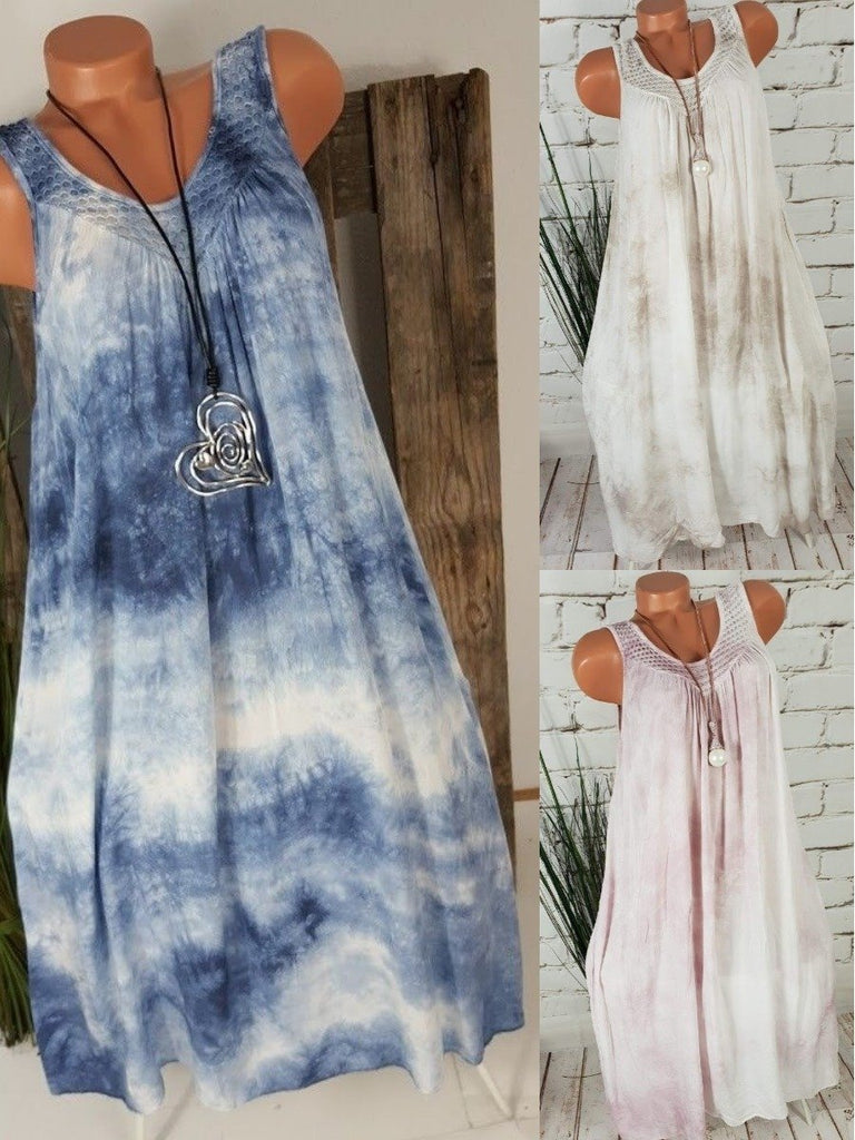 Women Sleeveless Round-neck Tie Dyeing Short Dress