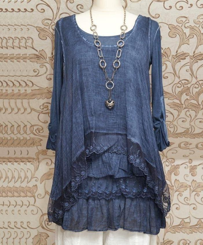Stunning Blue 2 Pieces Long Sleeve Tunic Dress Quirky Italian Lagenlook / Layerning Top