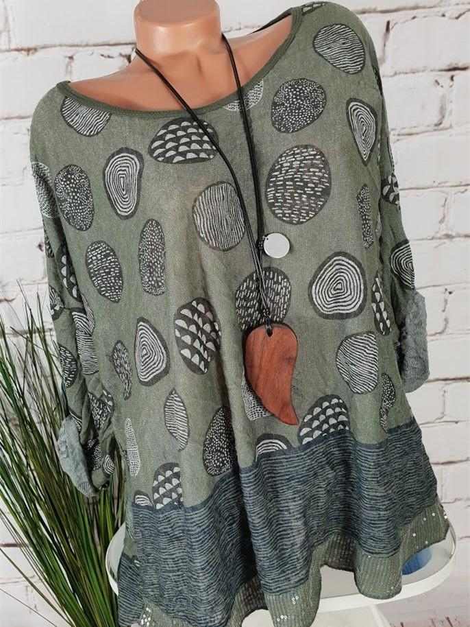 New Oversize Blouse Graphic Sequins Women Tops