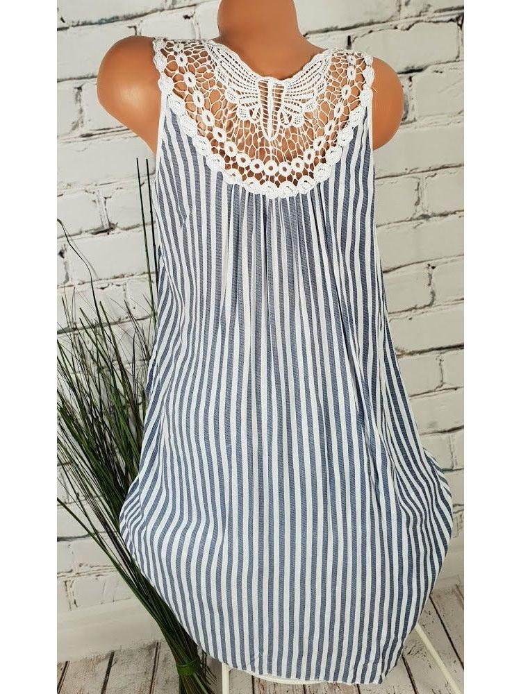 Women's Plus Size Chic Sleeveless Summer Beach Airy Dress Crochet Lace Striped S - 5XL