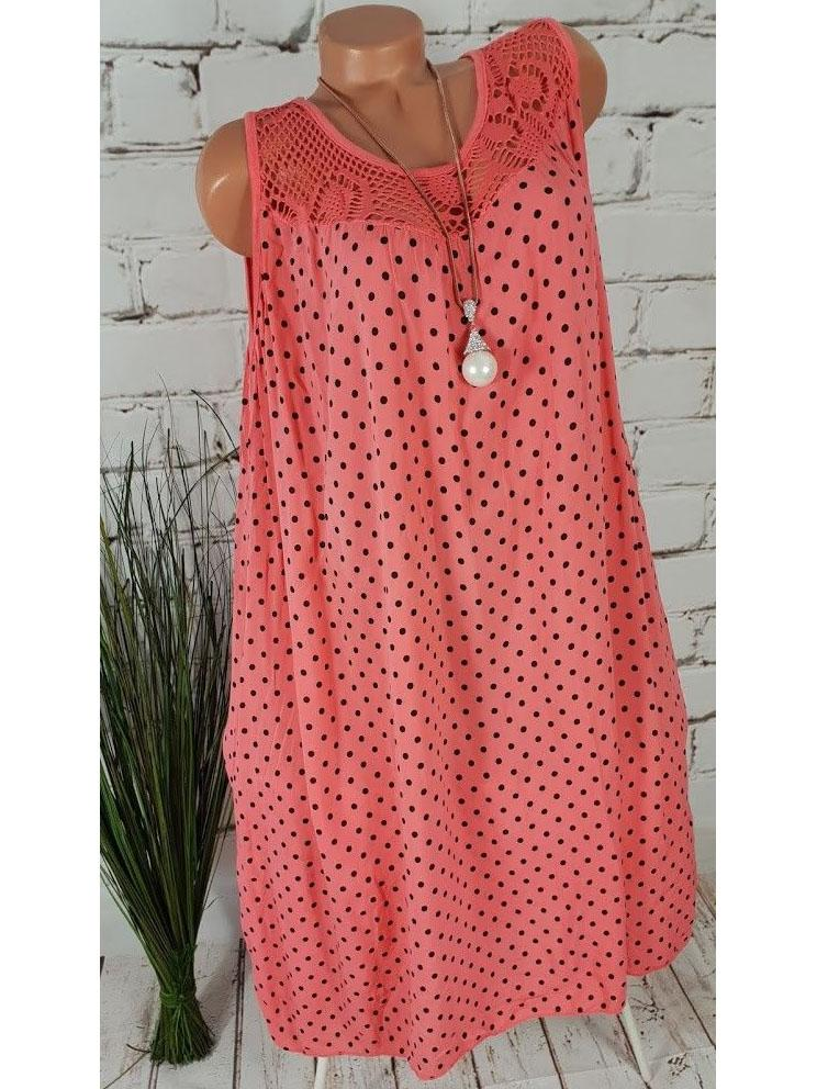 Women's Plus Size Polka Dot Sleeveless Summer Beach Dress S - 5XL