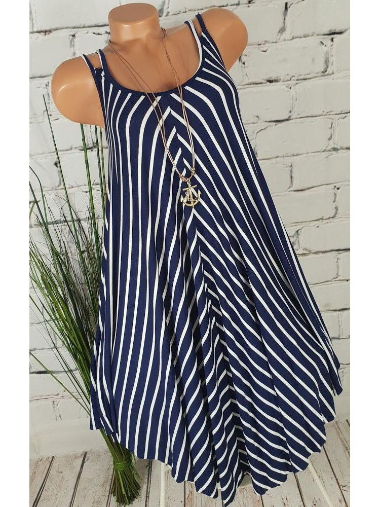 Women's Plus Size Striped Slip Dress Sleeveless S - 5XL