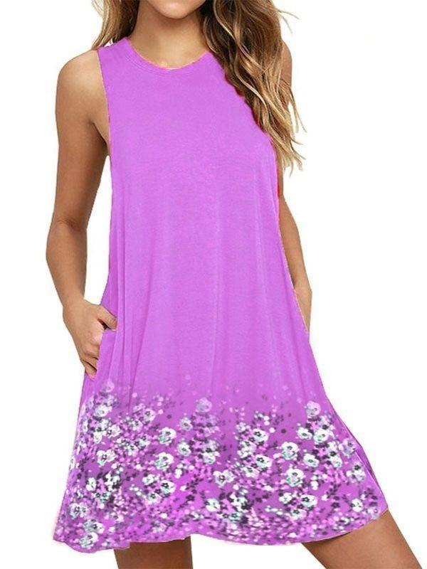 Women Plus Size Sleeveless Printed Summer Short Dress with Pockets