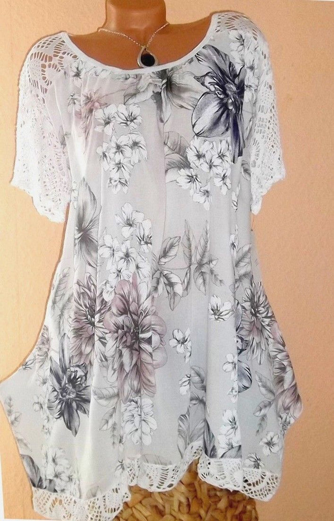 Plus Size Women Fashion Short Sleeve Blouse Casual Loose Floral Printed Tops