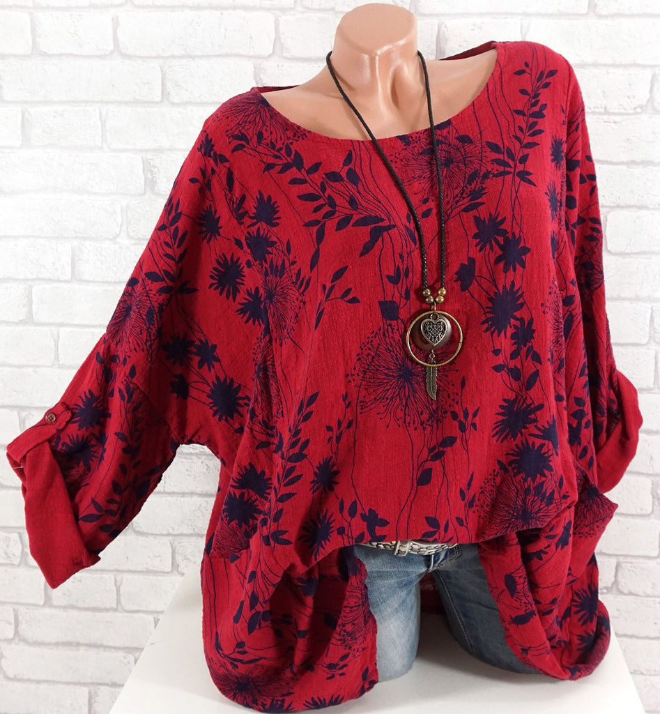 Plus Size Women leaf Printed Long Sleeve Round Neck Tops 9 Color S-5XL