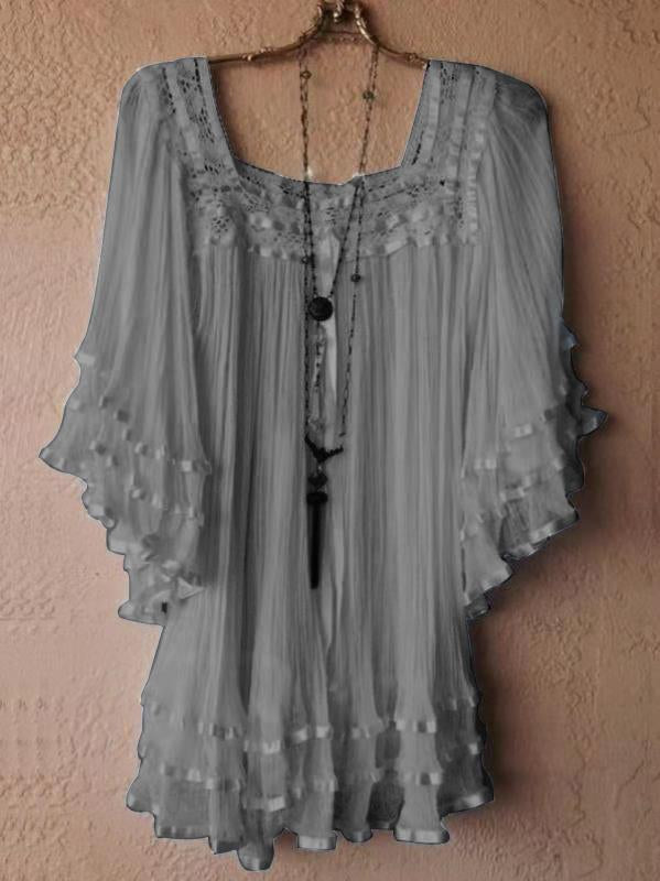 Women's Fashion Scoop Neck Vintage Lace Loose Batwing Sleeve Blouse Tops Dress