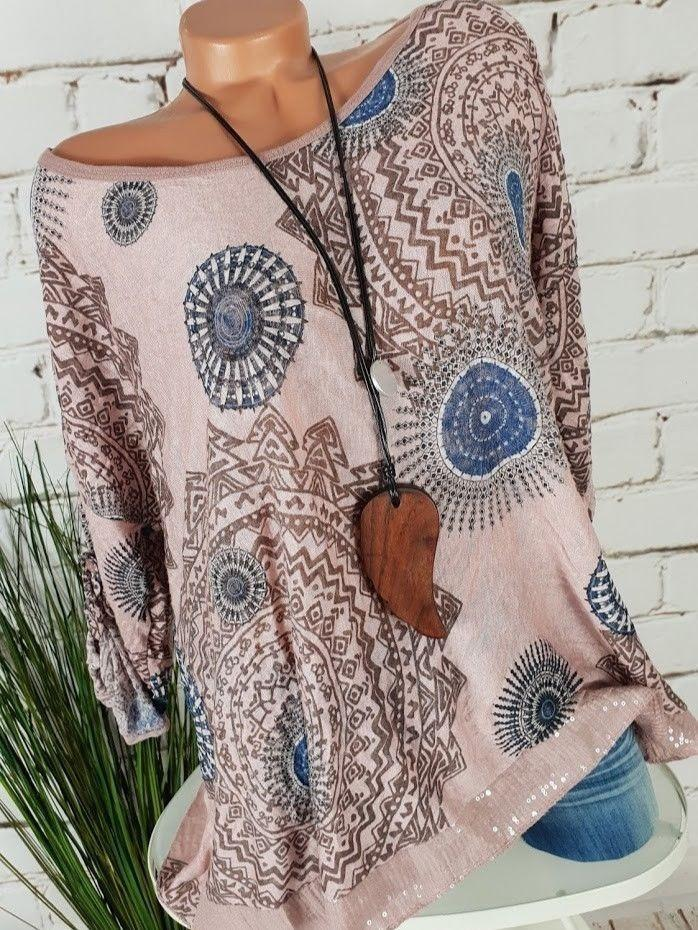 Women Plus Size Round-neck Long Sleeve Printed Lace Hem Blouse