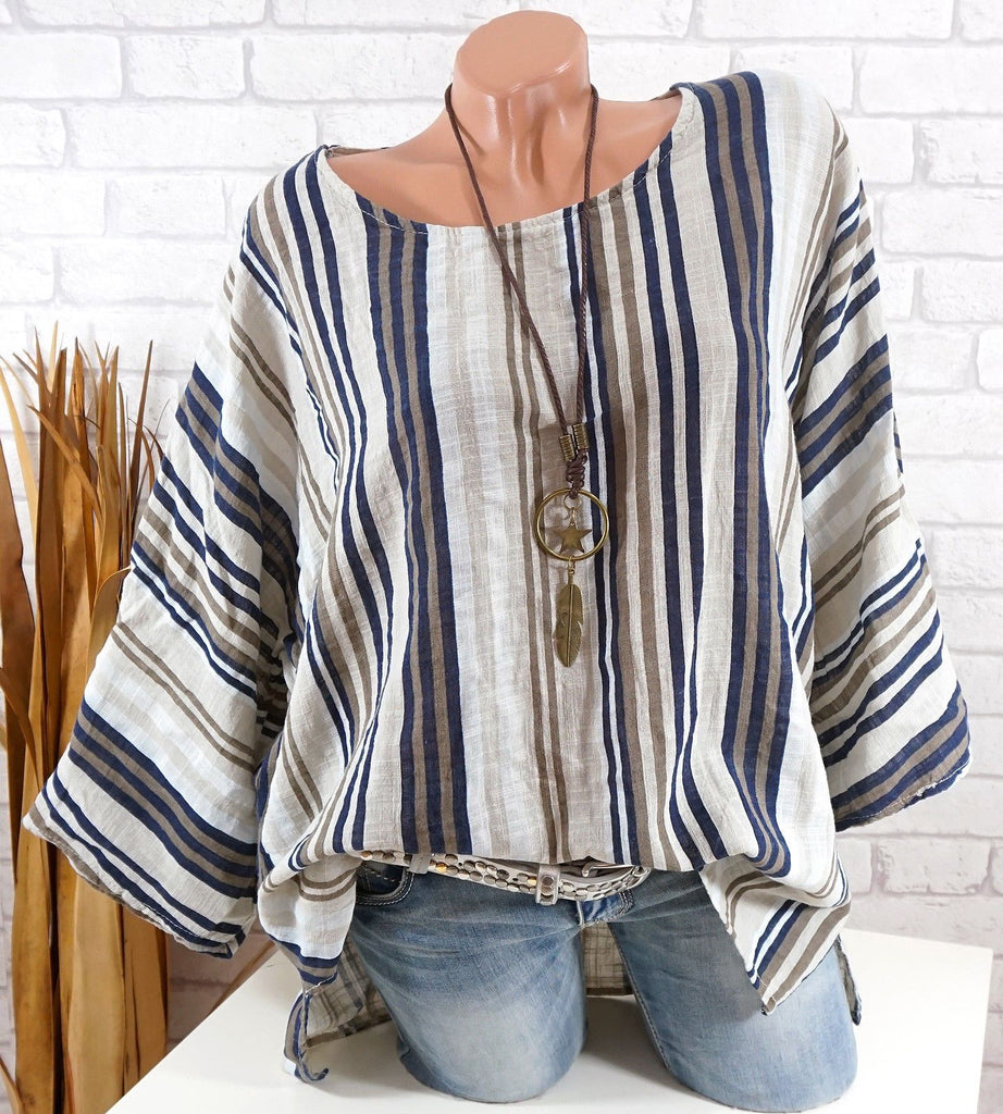 Women Plus Size Round-neck Half Sleeve Striped Printed Blouse