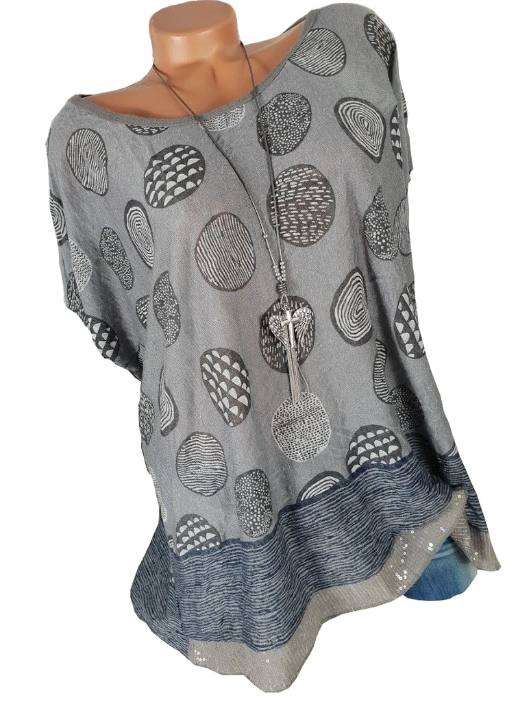 New Oversize Blouse Graphic Sequins Short Sleeve Women Tops