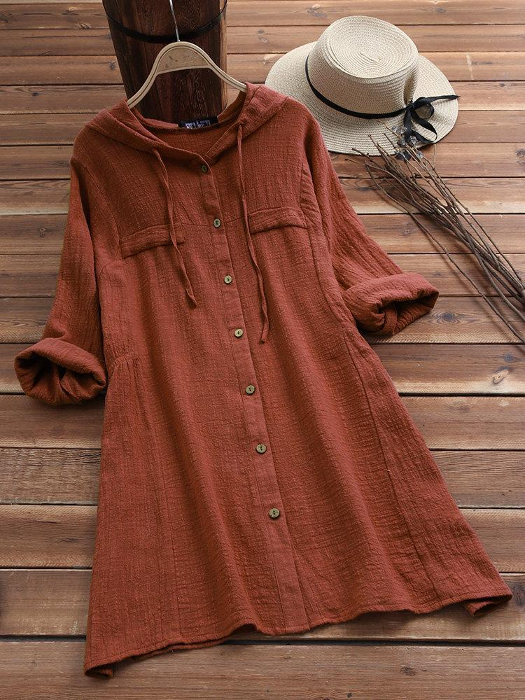 Women Solid Color Drawstring Hooded Long Sleeve Blouse Top Dress