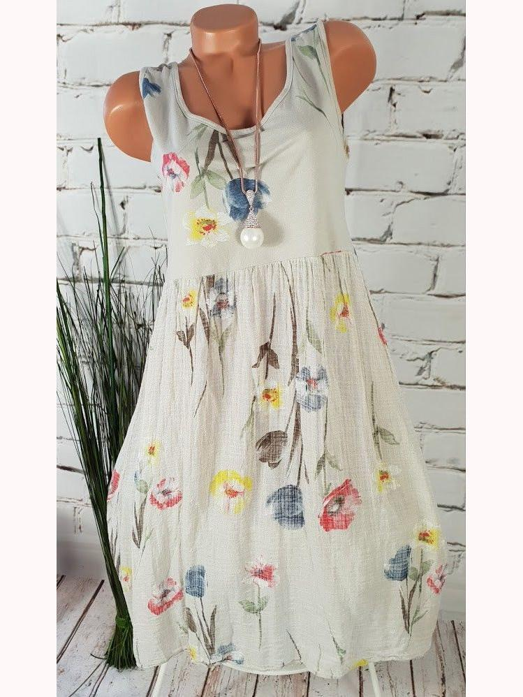 Women Sleeveless  Dress Plus Size Floral Dress