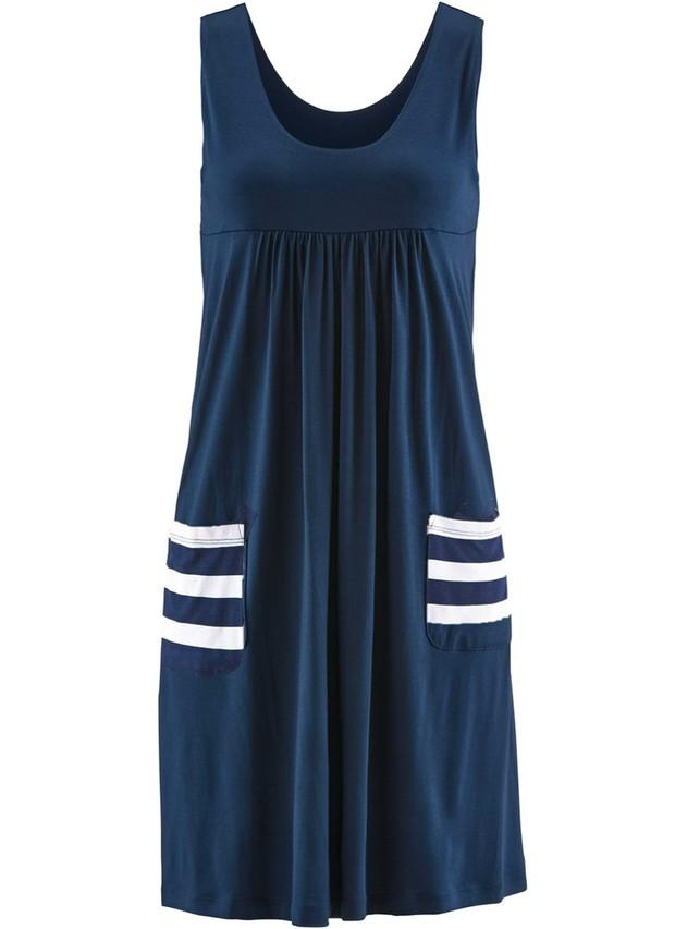 Women Plus Size Chic Sleeveless Summer Short Loose Dress Dark Blue Pockets