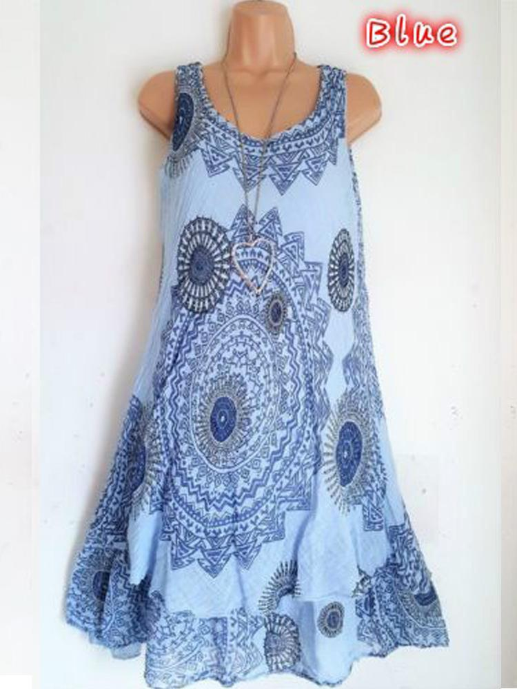 Floral Printed Sleeveless Printed Dresses S - XXXXXL 6 Colors
