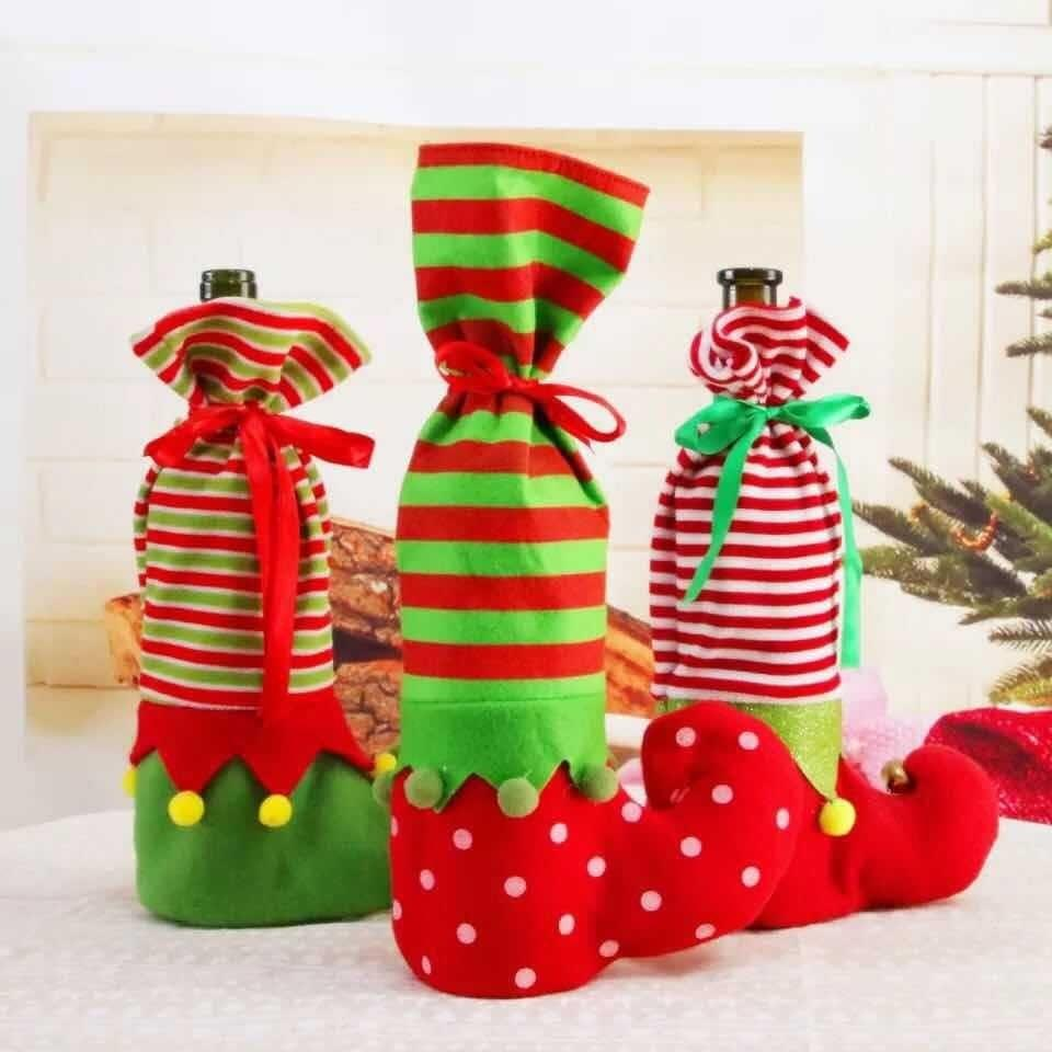 New Christmas Decoration Santa Claus Snowman Wine Bottle Cover Bag Christmas Dinner Xmas Sock Table Decoration Gift