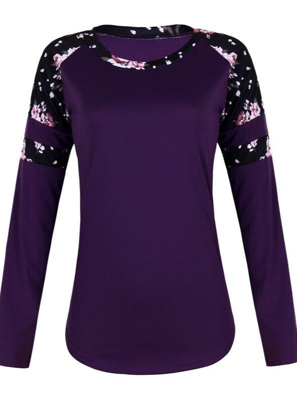 Women Fashion Long Sleeve Round Neck Printed Plus Size Tops Blouse