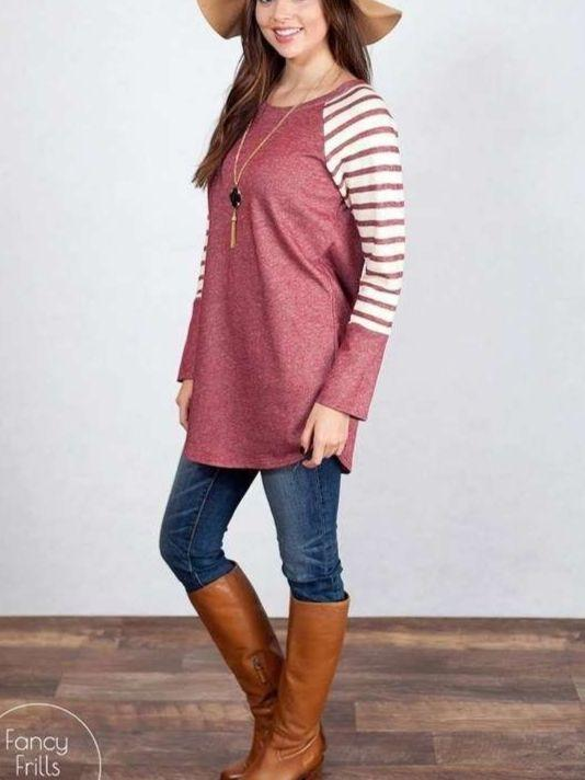 Women Fashion Long Sleeve Round Neck StripeTops Blouse