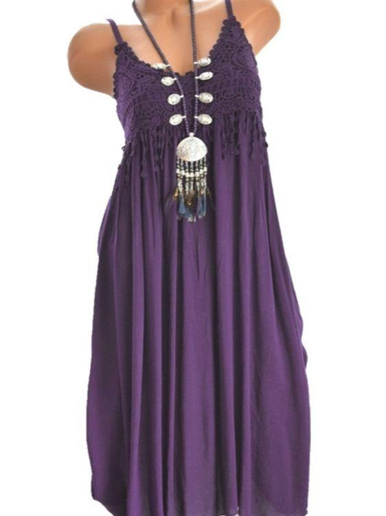 Women Bohemian Sling Plus Size Dress