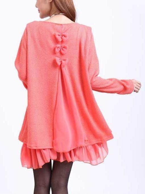 Long Sleeve Round Neck Loose Plus Size Top Blouse