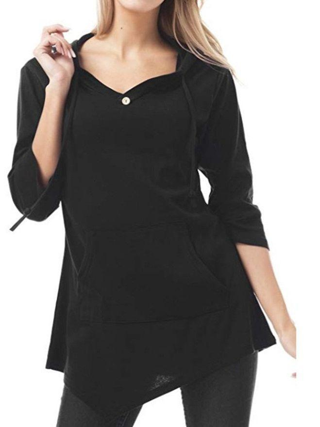 Best Selling Fashion Long-sleeved V-Neck Pocket Tops S-XXL